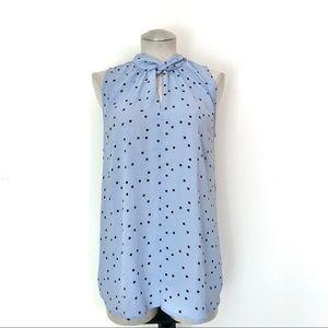 LOFT Sleeveless Blue Polka Blouse Size M